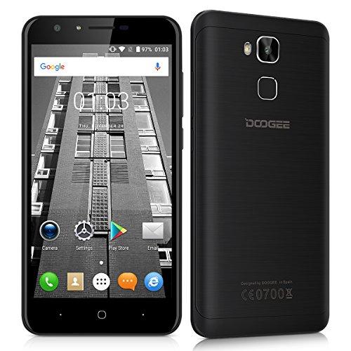 "Doogee Y6 - Smartphone libre Android 6.0 (4G LTE, Pantalla 5.5"", Quad Core, 16GB ROM, 2GB RAM, Cámara 13MP, Dual SIM, OTG), Negro"