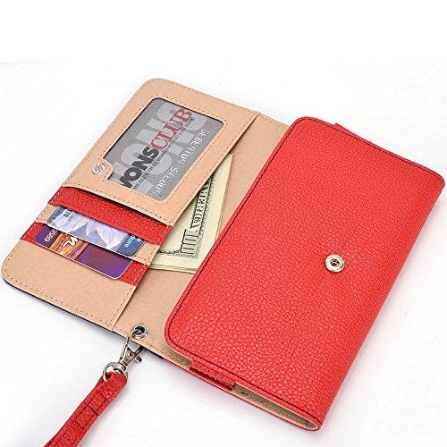 Kroo Pochette Téléphone universel Femme Portefeuille en cuir PU avec dragonne compatible avec HTC Desire 626G +/One M8S Bleu - bleu Multicolore - Blue and Red