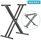 Neewer® Black Folding Solid Iron Double-Braced X-Style Keyboard Stand with Locking Straps and 5-Position Disk Clutch for Easy Height and Width Adjustment