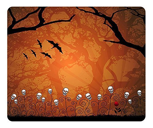 SUN VIGOR Mouse Pad Oblong Shaped Natural Eco Rubber Halloween Bats Skeleton Tree Design Durable Mouse Mat Computer Accessories Gaming Mouse Pad For Gifts