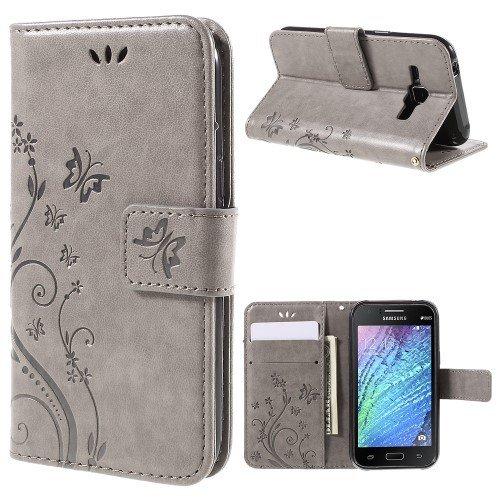 jbTec® Flip Case Handy-Hülle passend für Samsung Galaxy J1 / SM-J100 - Book Muster Schmetterlinge S16 - Handy-Tasche Schutz-Hülle Cover Handyhülle Ständer Bookstyle Booklet, Farbe:Grau