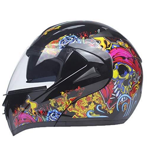 Casco moto apribile con visiera aperta, uomo Doppia visiera parasole Caschi moto Fibbia multi-stadio Fodera rimovibile Cappellini motocross in tutte le stagio