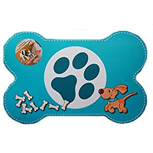 Set de table pour chien, tapis gamelle, protection sol repas bleu