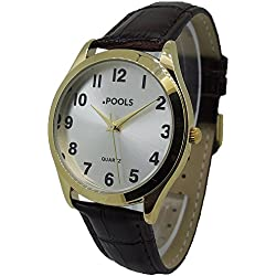 POOLS Men's Quartz Watch 1244 with Leather Strap