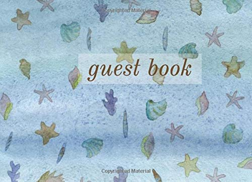 Waterfront Cottage (Guest Book: Lined Guestbook With Prompts - For a Guest Room, Bed and Breakfast, Beach House, Vacation Home, Waterfront Condo, or Cottage Rental - Underwater Shells and Starfish Blue Cover Design)