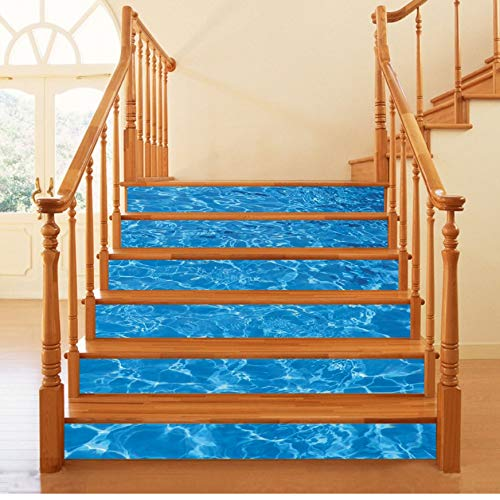 Preisvergleich Produktbild 6 Teiliges Set Aufkleber Der Treppe 3D Sea View 3D Poolleiter Wandaufkleber Entfernbare Tapete Hauptdekoration Bodenaufkleber 18 * 100cm