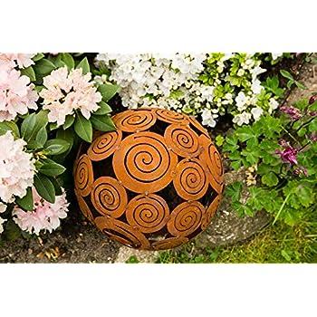 Metall Kugel Bl/üte D25cm Rostpatina Garten Dekoration Blumen Sommer