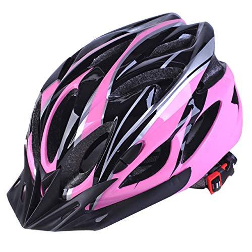 Cascos de Bicicleta Negro Mate Hombres Mujeres Casco de Ciclismo Luz de Fondo MTB Mountain Road Bike Cascos de Bicicleta Moldeados integralmente (Color: Rosa Negro)