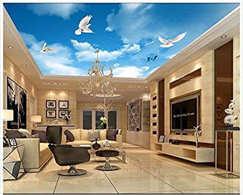 Lqwx 3D Wallpaper Custom 3D Deckenmalereien Wallpaper Blue Sky White Sky Flying Pigeon Decke Hintergrund Wandbilder Wohnzimmer Einrichtung 400 Cmx 280 Cm