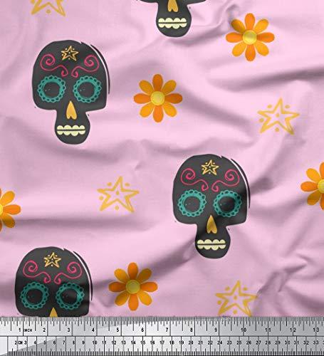 Soimoi Rosa Samt Stoff Blumen & tribal Schadel Dekor Stoff gedruckt 1 Meter 58 Zoll breit
