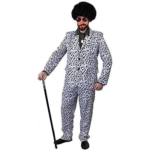 Dalmatiner Kostüm Gruppe - ILOVEFANCYDRESS ZUHÄLTER/Pimp KOSTÜME VERKLEIDUNG 60iger 70s Jahre=Fasching Karneval Disco=SCHWARZES SEIDIGES RÜSCHEN Hemd+PERÜCKE+Medallion+Dalmatiner Look Hosenanzug+AVAIATOR Brille=XLarge
