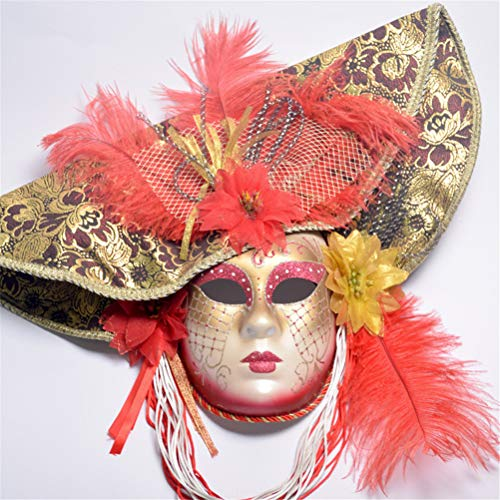 Jiahe Maschera, Maschera Mascherata Veneziana, Accessori di Decorazione di Carnevale per Donna con Piume di Struzzo,Red