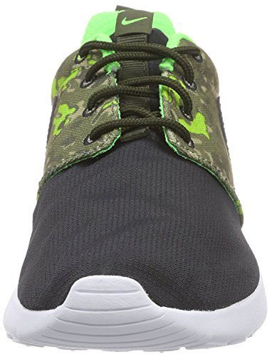 Nike Nike Roshe One Print (Gs), Baskets Basses mixte enfant Noir - Schwarz (008 BLACK/BLACK-CRG KHAKI-GRN STRK)