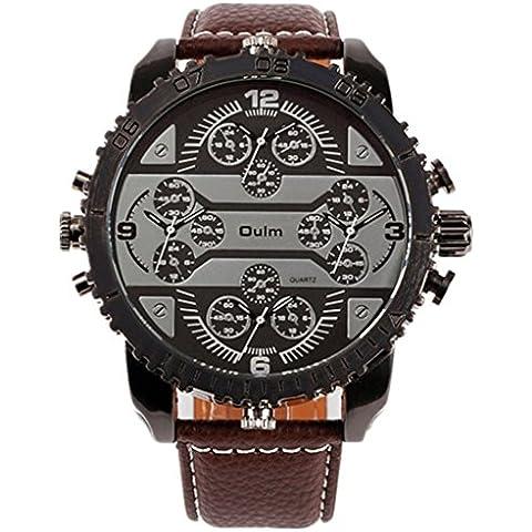 downj piel banda 4zonas horarias cuarzo militar hombres analógico reloj de pulsera marrón