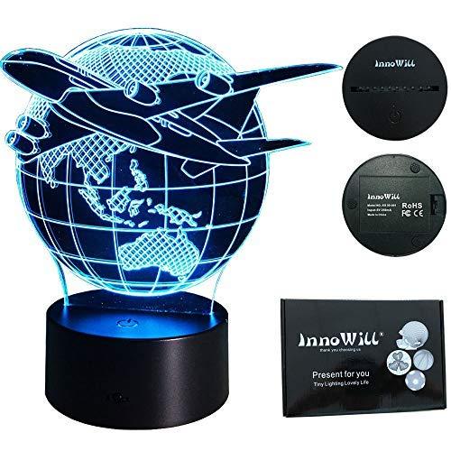 InnoWill Flugzeug Geschenk LED Lampe USB und Batteriebetriebene