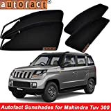 #9: Autofact Magnetic Window Sunshades/Curtains for Mahindra TUV 300 [Set of 6pc - Front 2pc with Zipper ; Rear 2pc Without Zipper ; Baby Seat 2pc Fix Type Without Zipper & Without Magnet] (Black)