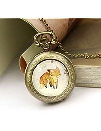 Reloj de bolsillo retro modelo Fox de aleación collar colgante Reloj de bolsillo estudiante Reloj de enfermera médico (Bronce)