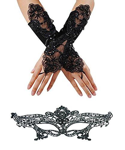 aske Frau Spitze Gesicht Maske und Handschuhe Masquerade Party Kostüm für venezianischen Karneval Party Schwarz ()
