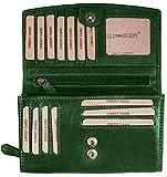 Hill Burry Damen hochwertige Geldbörse | XXL Leder - Langes Portemonnaie Viel Platz (Grün)