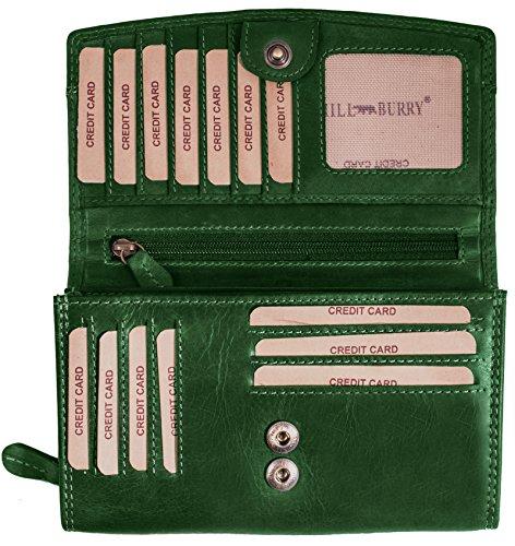 Lange Leder Damen Geldbörse (Hill Burry Damen hochwertige Geldbörse | XXL Leder - Langes Portemonnaie Viel Platz (Grün))