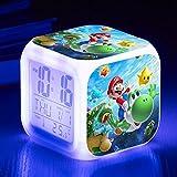 TopschnaeppchenDSH Super Mario Wecker LED Licht Farbwechsel 7 Farben Film Nachtlicht Digitale Uhr