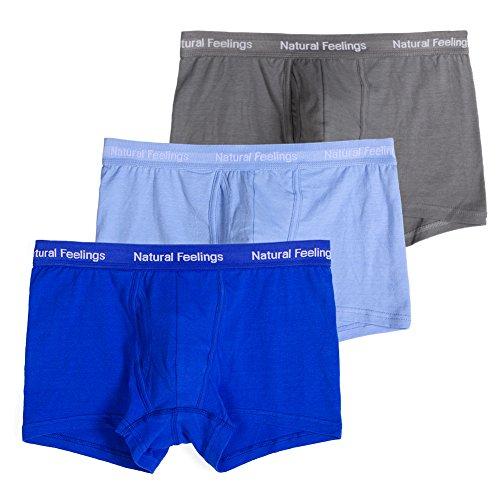 Herren Unterwäsche Boxer Slip Baumwolle Stretch Unterwäsche Herren Pack 3mit Tasche FLY Blau / Grau Sortiert Medium / 33-35 Inches / 84-89 CM (Stretch Boxer Unterwäsche)