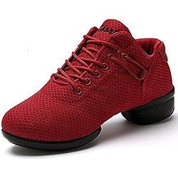 Zapatillas de Baile Deportivos Danza Jazz Elegante para Mujeres Zapatos Suela Blanda Lace up Negro Rosado Rojo Blanco Rojo 38
