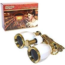 HQRP Prismáticos de ópera / Binocular de Teatro de estilo antiguo 4 x 30 blanco nacarado con cadena dorada