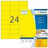 Herma 4406 Farbetiketten (70 x 37 mm auf DIN A4 Papier matt) 2.400 Stück auf 100 Blatt, gelb, bedruckbar, selbstklebend