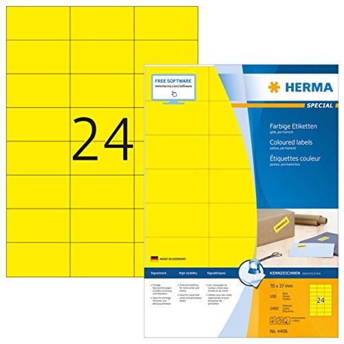 Herma 4406 Farbetiketten gelb (70 x 37 mm) 2.400 Aufkleber, 100 Blatt DIN A4 Papier matt, bedruckbar, selbstklebend