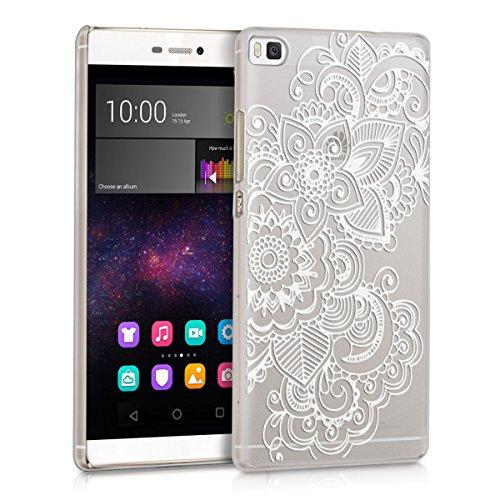 kwmobile Crystal Case Hülle für Huawei P8 mit Ethno Design - transparente Schutzhülle Cover klar in Weiß Transparent