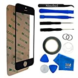 MMOBIEL Front Glas Reparatur Set für iPhone 5 5C 5S SE Series (Schwarz) Display Touchscreen mit 11 tlg. Werkzeug-Set inkl passgenauem Klebe-Sticker/Pinzette / Saugnapf/Metall Draht/Tuch