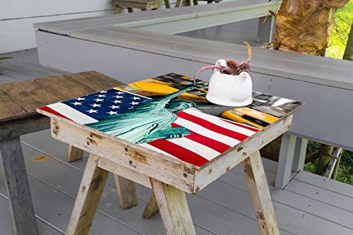 Wallario Aufkleber Selbstklebende Garten-Tisch-Decke - New York Collage in 80 x 80 cm