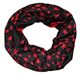 ACC leichter Sterne Loop Schal - tolle Farben (schwarz rot)