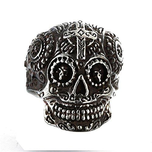 Aeici Titan Ring Herren Schädels Kopf Ring Persönlichkeit Geschnitzten Bala Geist Kopf Silber Breit 2.4Cm Größe 62 - Schädel-ringe-titan