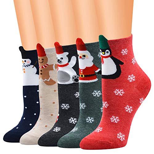Waduarnun calze natalizie 12 paia/calze di cotone tubolare/cartoni animati stereo babbo natale/pupazzo di neve/alce/natale/combinazione regalo