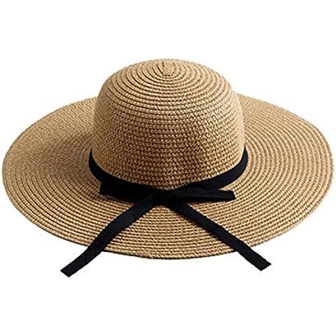 Moolecole Paja Sombrero Verano Plegable Dom playa Gorra Caqui