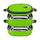 Lunchbox, Yosoo Tragbare Frischhaltebox Lebensmittelbehälter aus Edelstahl mit Griff für Essen, Aufbewahrungsbox für Lebensmittel (2 Etage, Grün)
