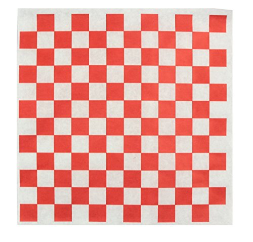 Dry Waxed Deli Paper Sheets - Paper Liners for Plasic Food Basket - 100 Sheets 12x12 Red and White Checkered - Chefocity by Chefocity Food Basket Liner