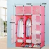 Armario simple de la ensambladura simple tela de plástico combinación armario único armario de almacenamiento ( Color : Pink )