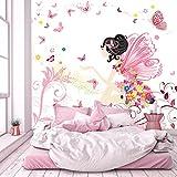 murimage Papier Peint Fée Enfants 274 x 254 cm Photo Mural Fleurs Papillons Filles Rose Chambre Wallpaper Colle Inclus