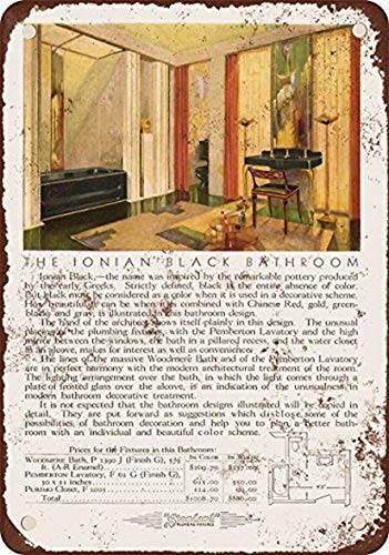 Shimeier Standard Ionian Black Badezimmerarmaturen Vintage Look Reproduktion Metall Blechschild 20,3 x 30,5 cm Vintage Home Wall Decor Art Art