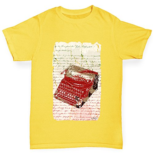 Book Print Typewriter Girl's Yellow T-Shirt