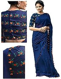 Isha Enterprise Georgette Navy Blue Thread Work Designer Saree