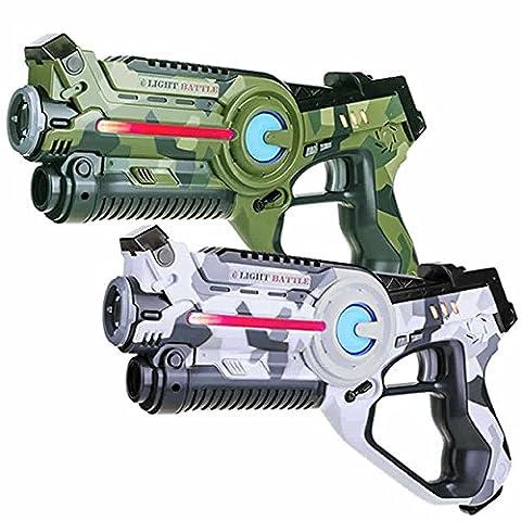 2 lasertag guns: 1x camo green + 1x camo white. Light Battle laser game set | LBAP10257