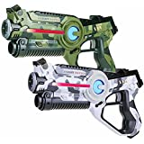 2 lasertag guns: 1x camo green + 1x camo white. Light Battle laser game set | LBAP10257