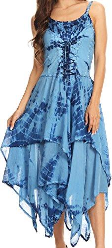Sakkas 902 Annabella Korsett Bodice Taschentuch Hem Kleid - Blau - One Size Plus
