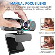 HD Pro Webcam, Full HD 1080p/30fps Video Calling, HD Light Correction, Clear Stereo Audio,Works with Skype, Zo