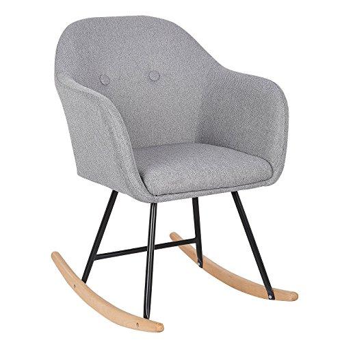 WOLTU SKS04hgr Chaise à Bascule Pieds en Acier Fauteuil à Bascule Assise en Lin,Gris Clair