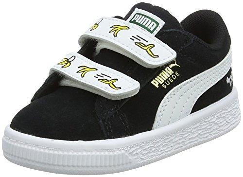 Puma Unisex-Kinder Minions Suede V Sneaker, Schwarz Black White, 23 EU